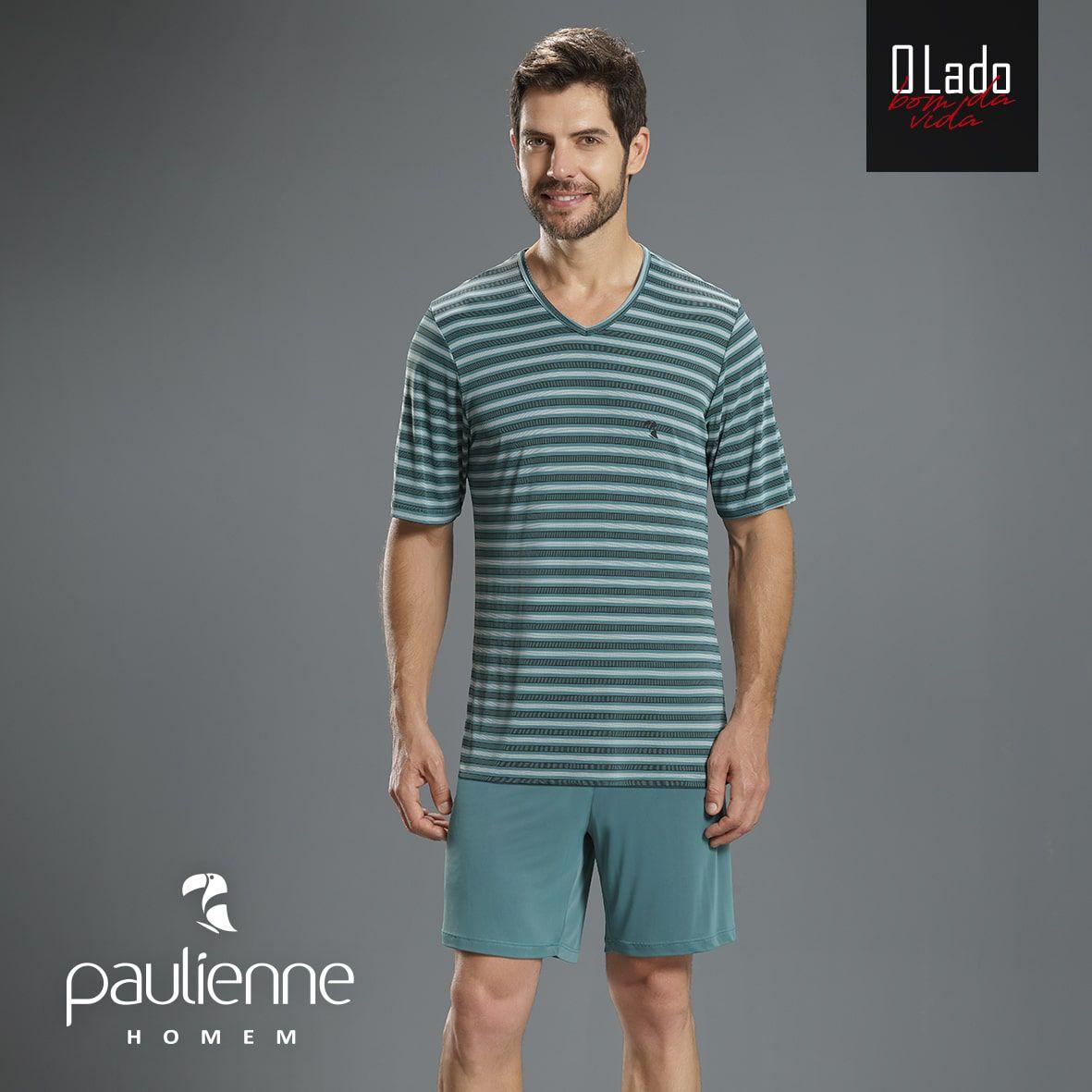 Pijama Masculino Curto Paulienne Blusa Listrada e Bermuda em Liganete Plus Size