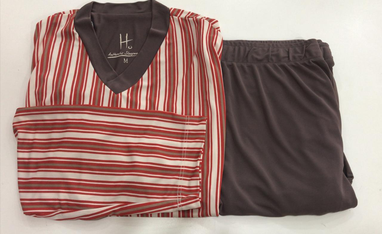 Pijama Masculino Dressy Adulto Longo listrado marrom com vermelho em Liganete 38284