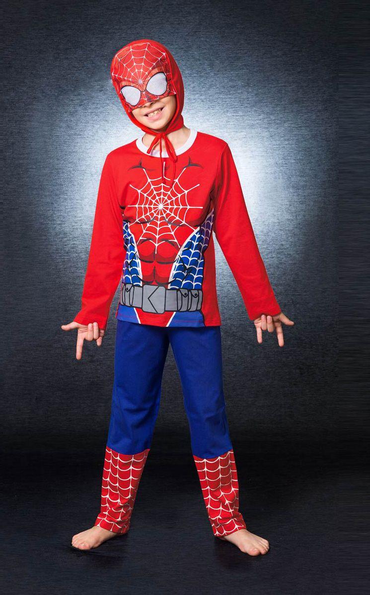 Pijama Fantasia Masculino Infantil Veggi Manga Longa Homem Aranha com Capuz