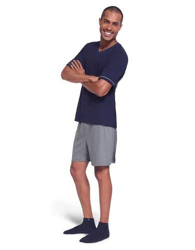 Pijama Masculino Lupo Manga Curta com Bermuda em Algodao 28000