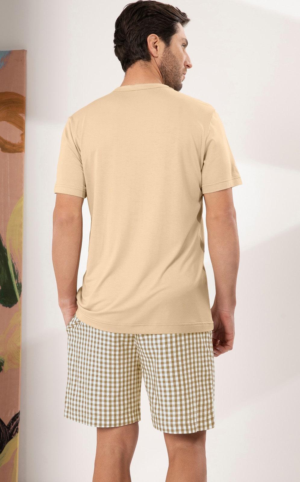 Pijama Masculino Mixte Blusa com Bermuda Xadrez Nude 1200