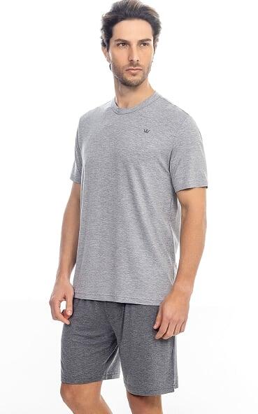 Pijama Masculino Mixte  Camiseta com Bermuda Cinza em Modal 9754