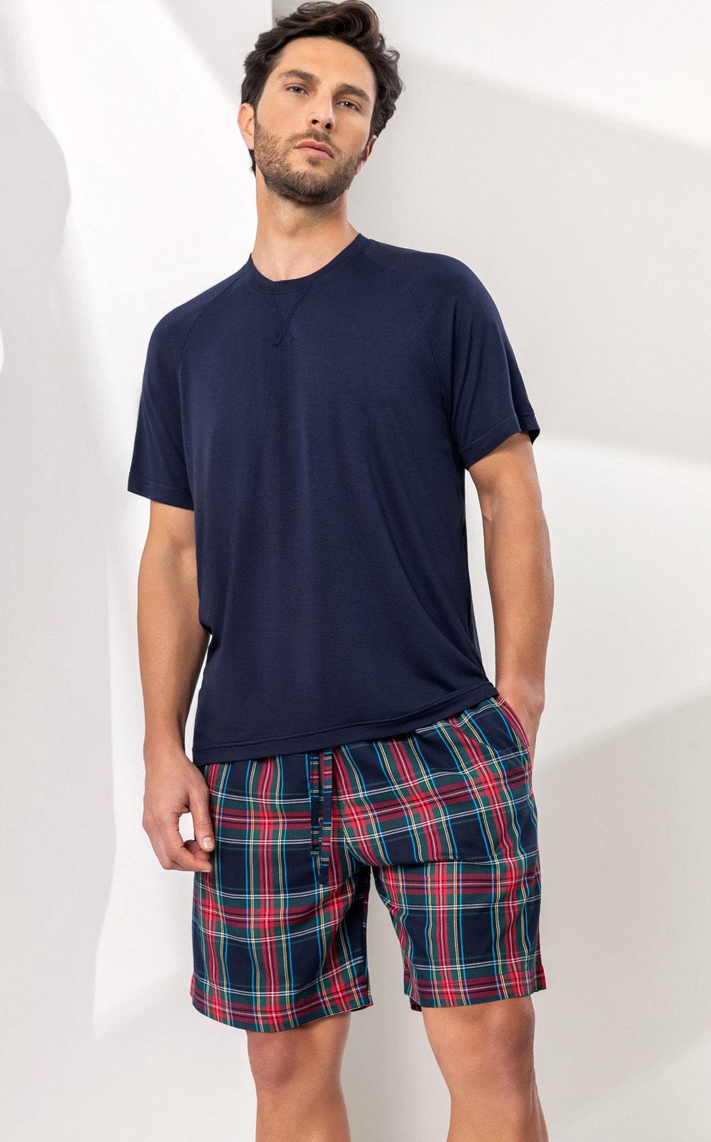 Pijama Masculino Mixte Manga Curta com Bermuda Xadrez 1204