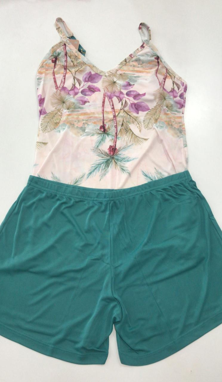 Pijama Shortdoll  Feminino Paulienne Básico com Alca Regulável 18663 -02