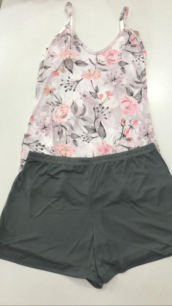 Pijama Shortdoll  Feminino Paulienne Básico com Alca Regulável 18663 -03