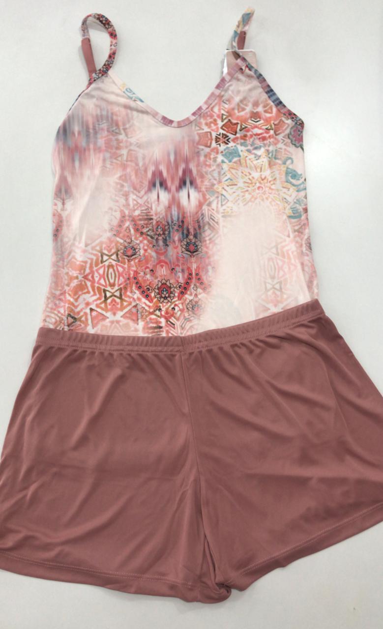 Pijama Shortdoll  Feminino Paulienne Básico com Alca Regulável 18663 -04