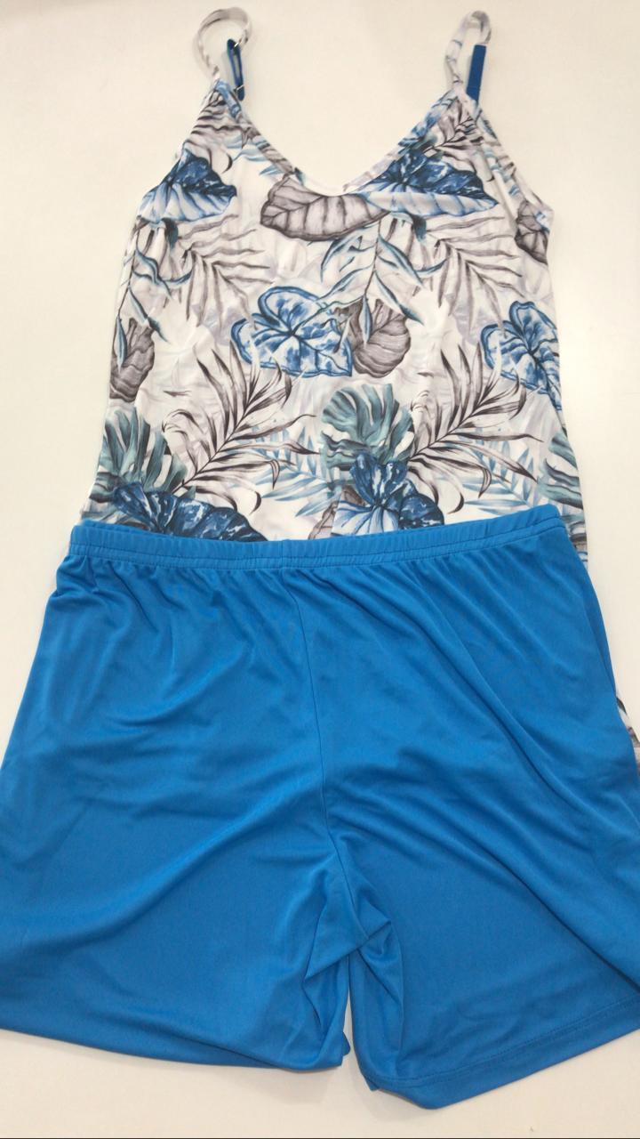 Pijama Shortdoll  Feminino Paulienne Básico com Alca Regulável 18663 -05