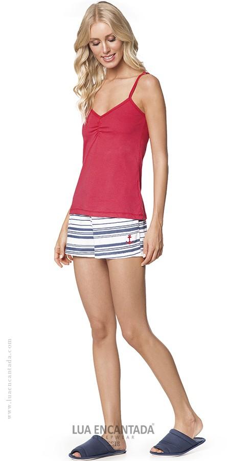 Pijama Feminino Adulto Lua Encantada Short Doll Navy Vermelho de Alça