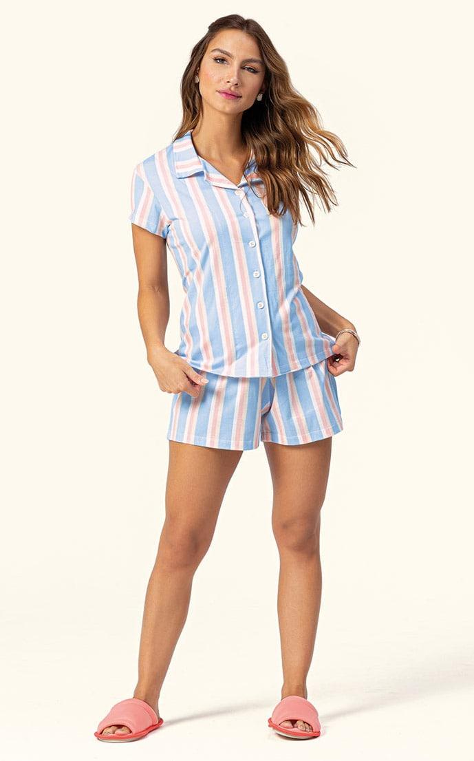Pijama Short Doll Feminino Adulto Manga Curta com Botões Lua Encantada Listras 3195223