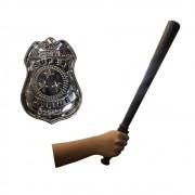 Cassetete Policial + Distintivo de Metal