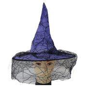 Chapéu de Bruxa com Renda de Teia de Aranha - Roxo