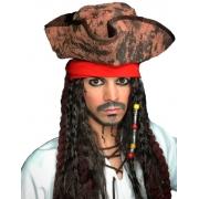 Chapéu Piratas do Caribe Com Dread Luxo