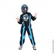 Fantasia Piloto Hot Wheels Luxo com Capacete Azul - Infantil