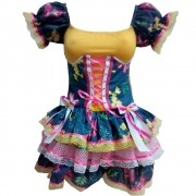 Vestido Caipira Decote Festa Junina - Adulto
