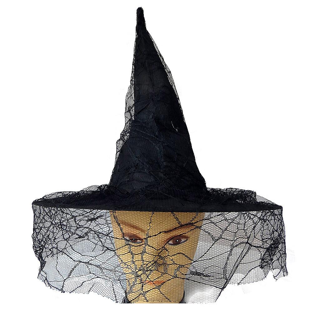 Chapéu de Bruxa com Renda de Teia de Aranha - Preto
