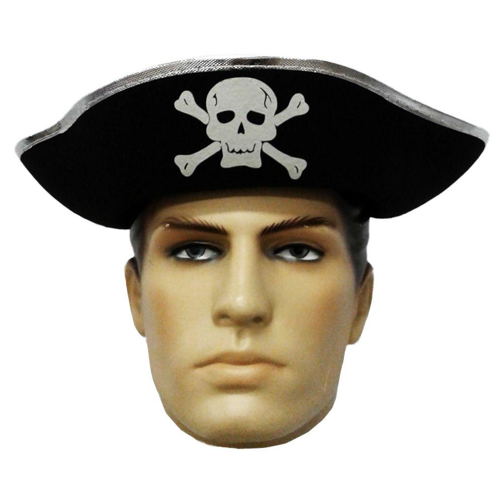 Chapéu Pirata Triangular Duro De Feltro