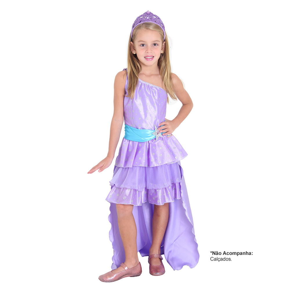 Fantasia Barbie Pop Star Roxa Luxo - Infantil