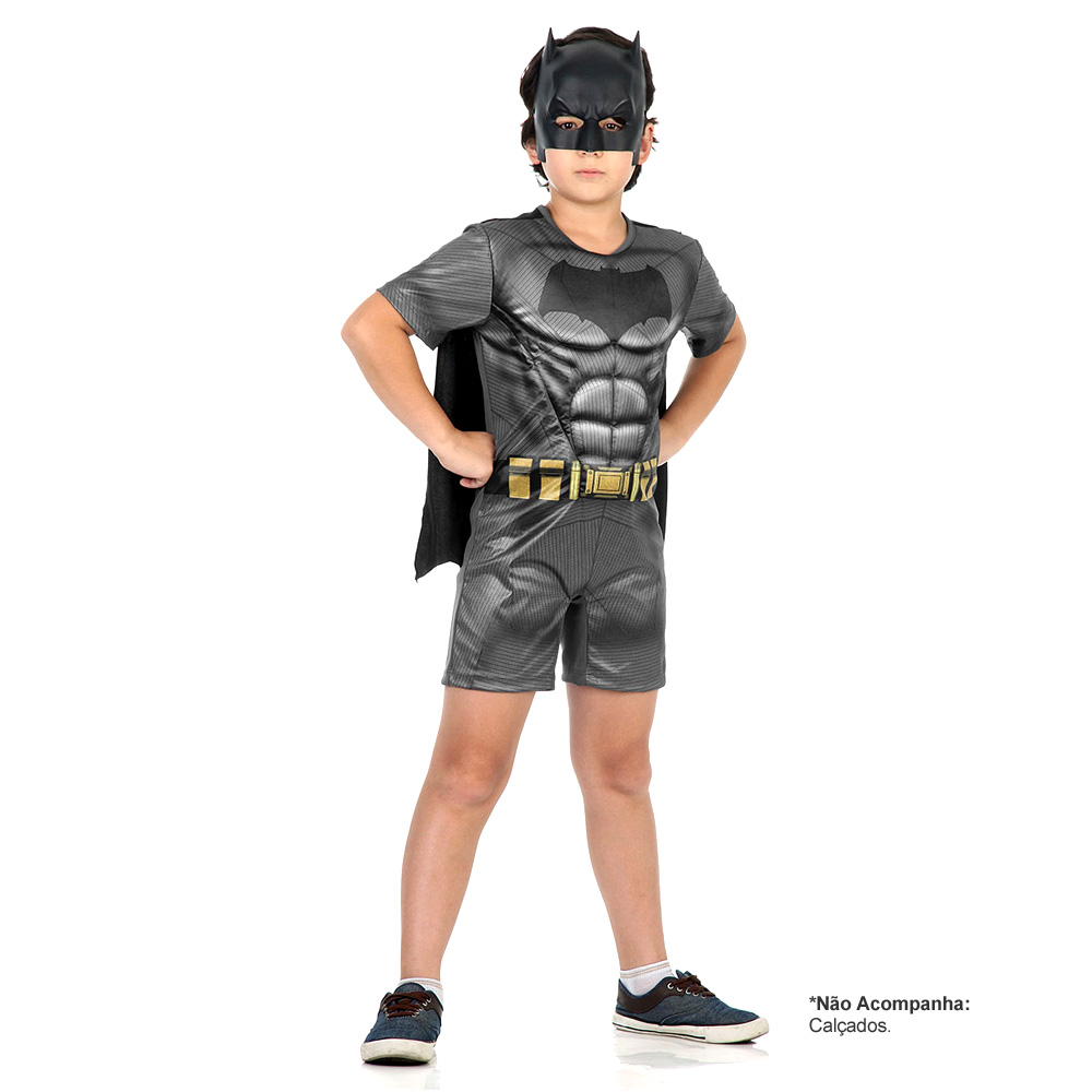Fantasia Batman Curta com Músculos do Filme Batman vs Superman - Infantil
