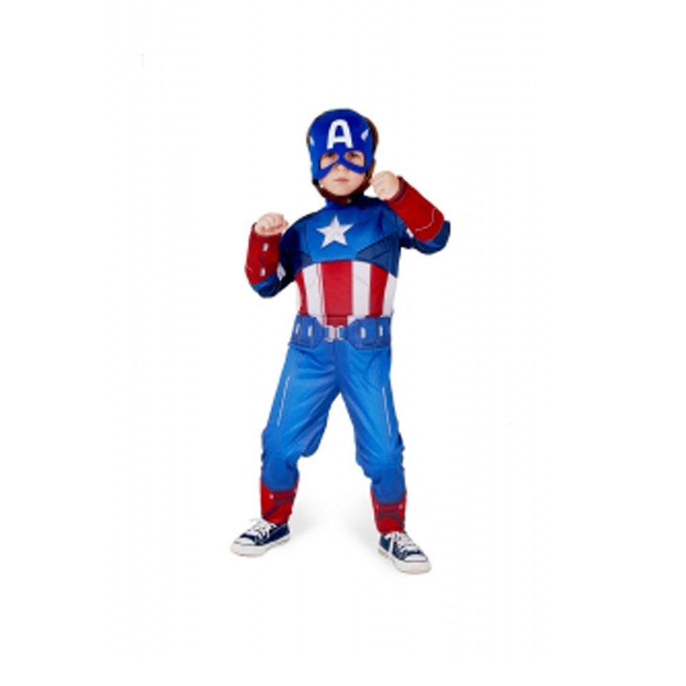 Fantasia Capitão América Longo - Infantil