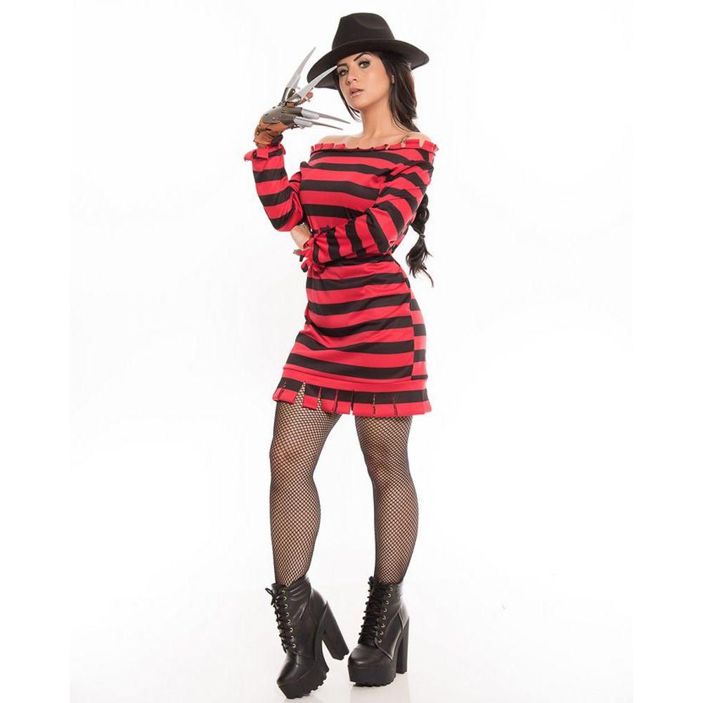 Fantasia Freddy Kruger Feminino Vestido Adulto