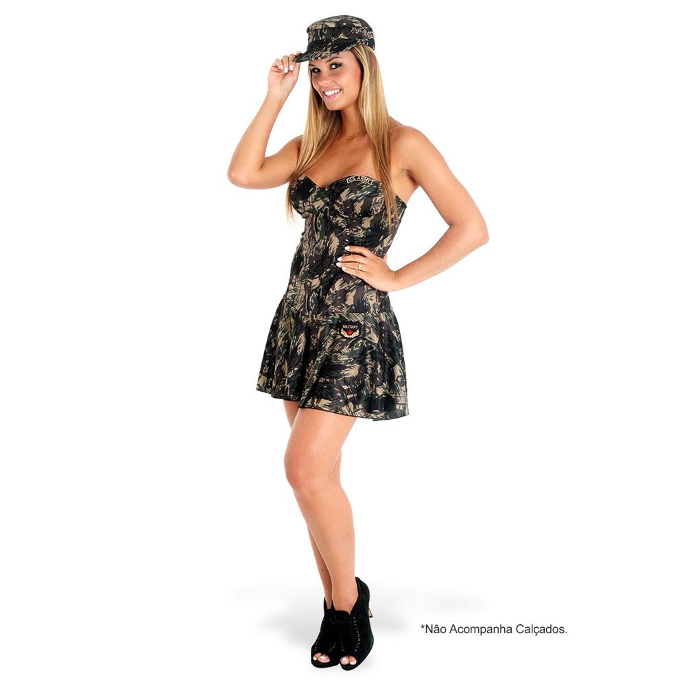 Fantasia Militar Vestido Camuflado - Heat Girls - Adulto
