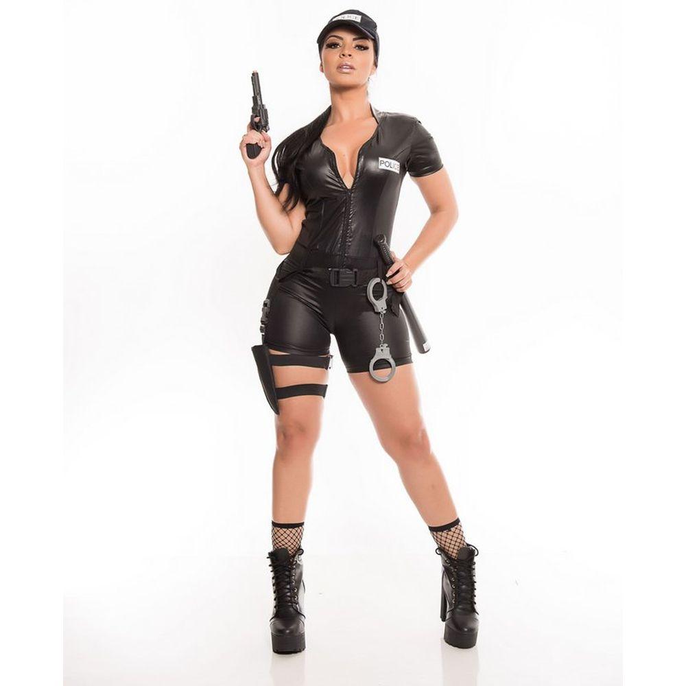 Fantasia Policial Feminina Curta Adulto