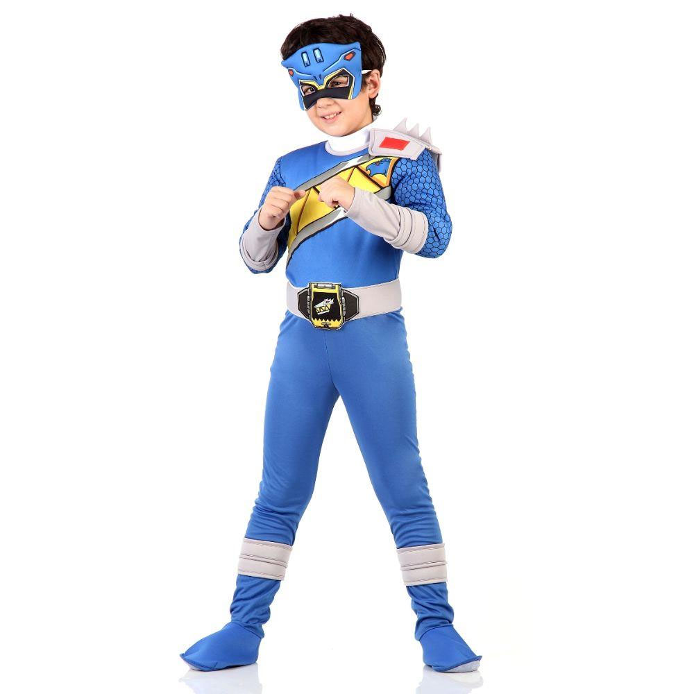 Fantasia Power Rangers Dino Charge Luxo Azul - Infantil