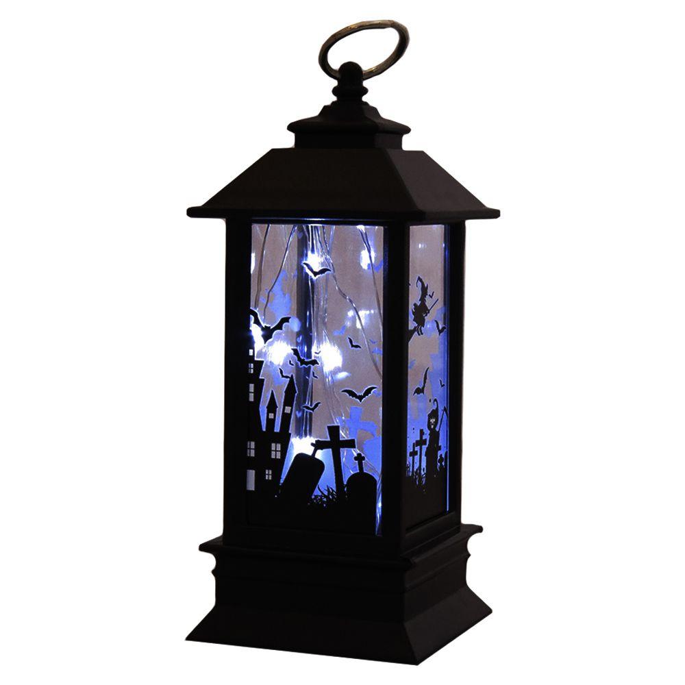 Lampião Quadrado Bruxa 13 cm Bateria Led  - Halloween