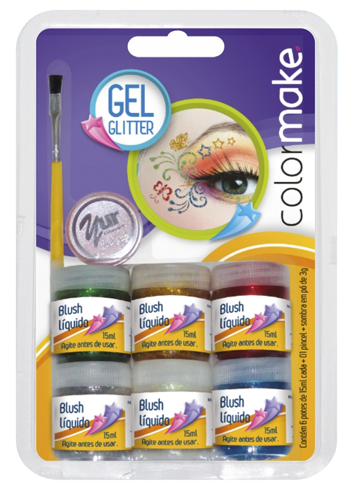 Pintura Gel Glitter com 6 cores de 15ml, Pincel e Sombra 15gr - Color Make