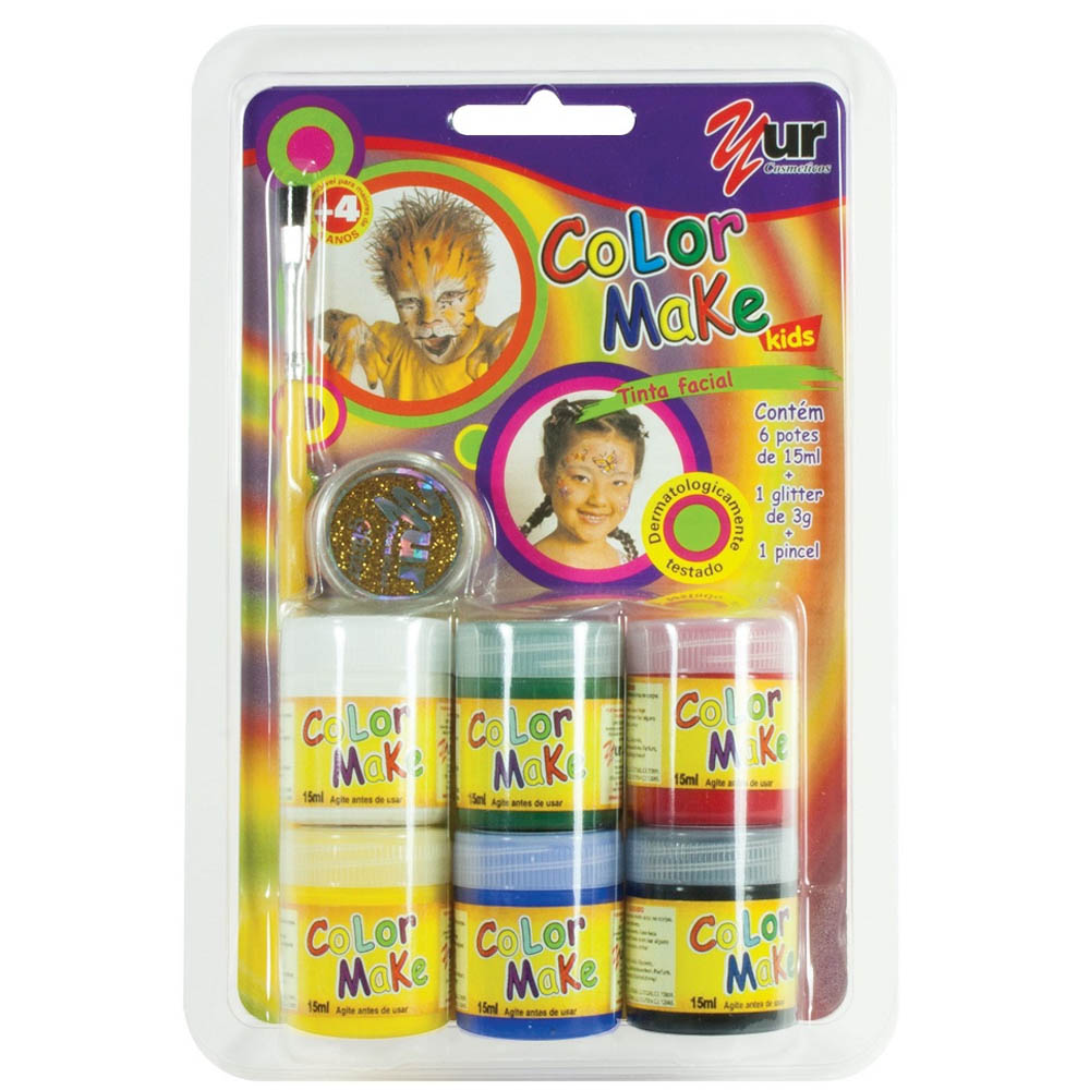 Pintura Líquida Kit 6 cores com 15ml, pincel e Glitter Dourado Kids - Color Make