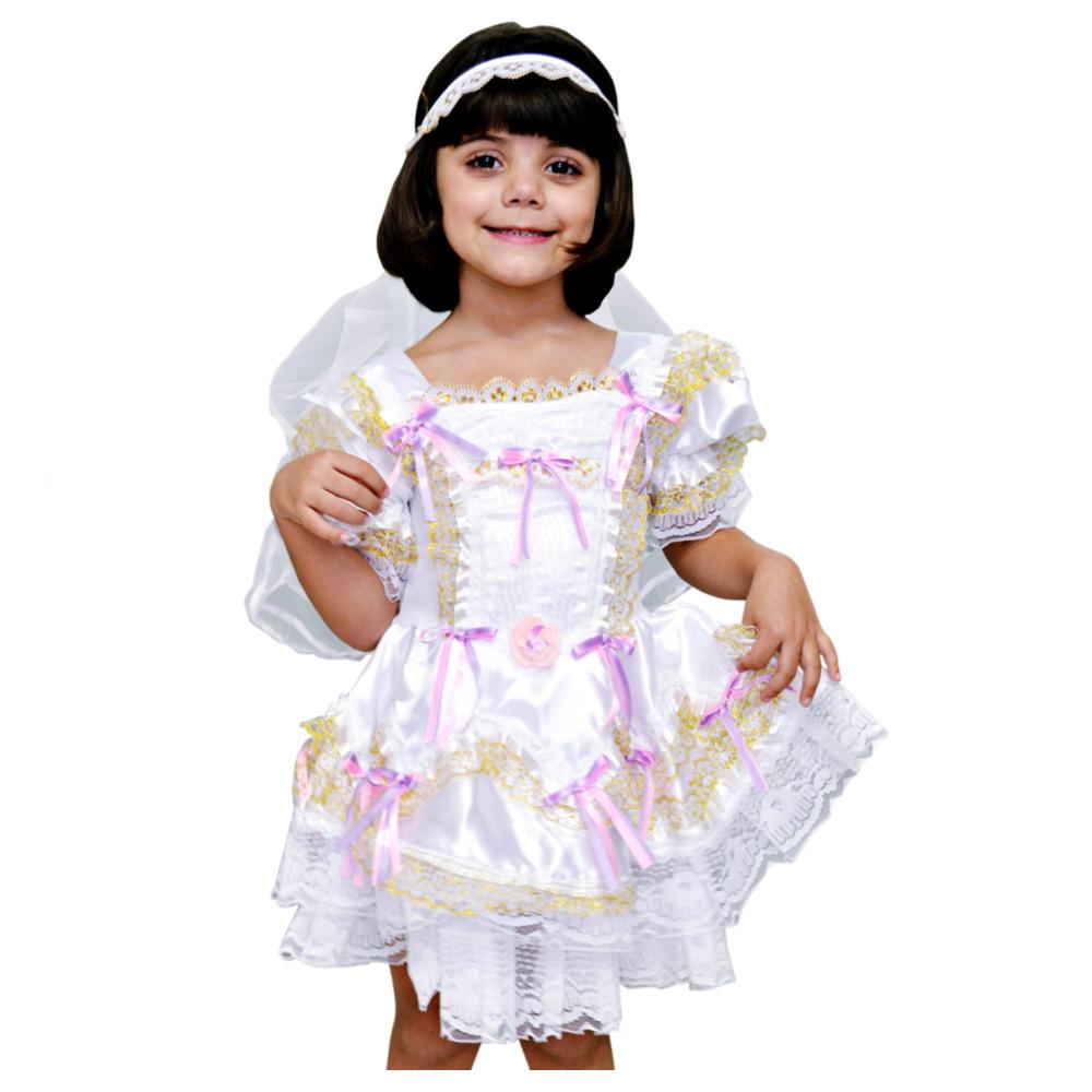 Vestido Noivinha Caipira Luxo Festa junina - Infantil