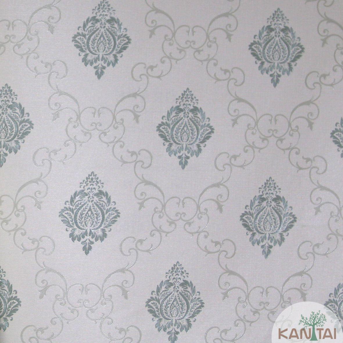 Papel de Parede Importado  Kan Tai  TNT Coleção Grace Mini Adamascado Off White, Verde