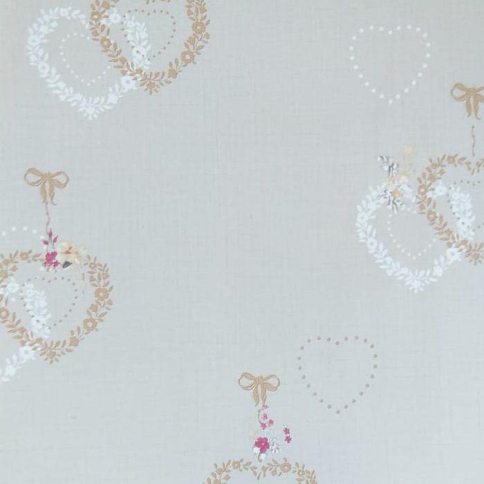 Papel de parede  Infantil Coleção Olá Baby 2 Floral Corações Bege escuro, Marfim, Marrom