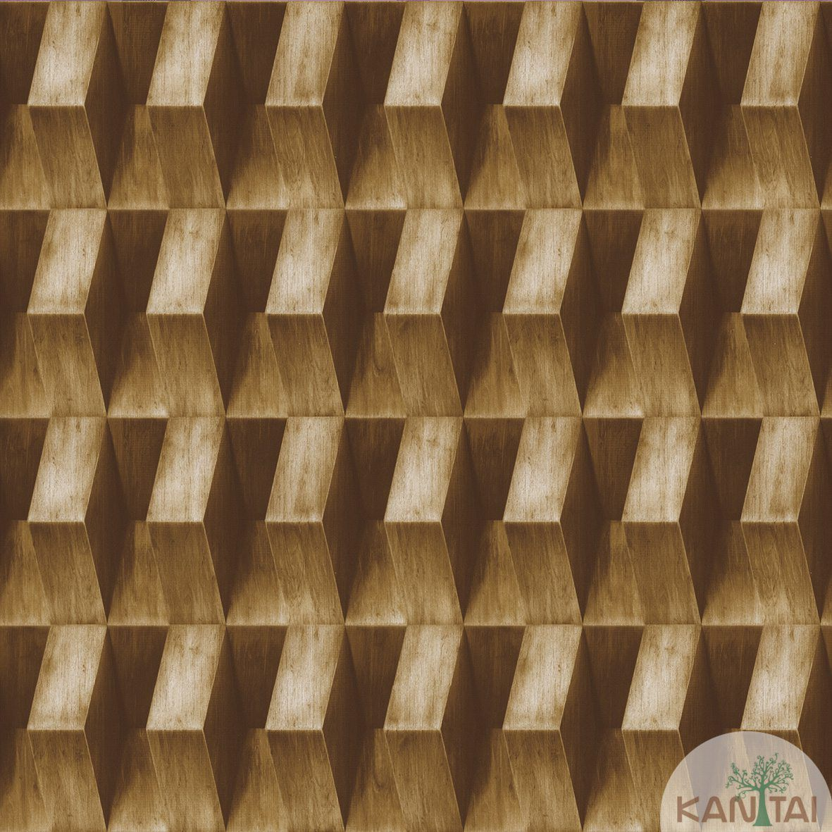 Papel de Parede  Kan Tai  Vinilico Coleção Neonature III 3D Geométrico Marrom