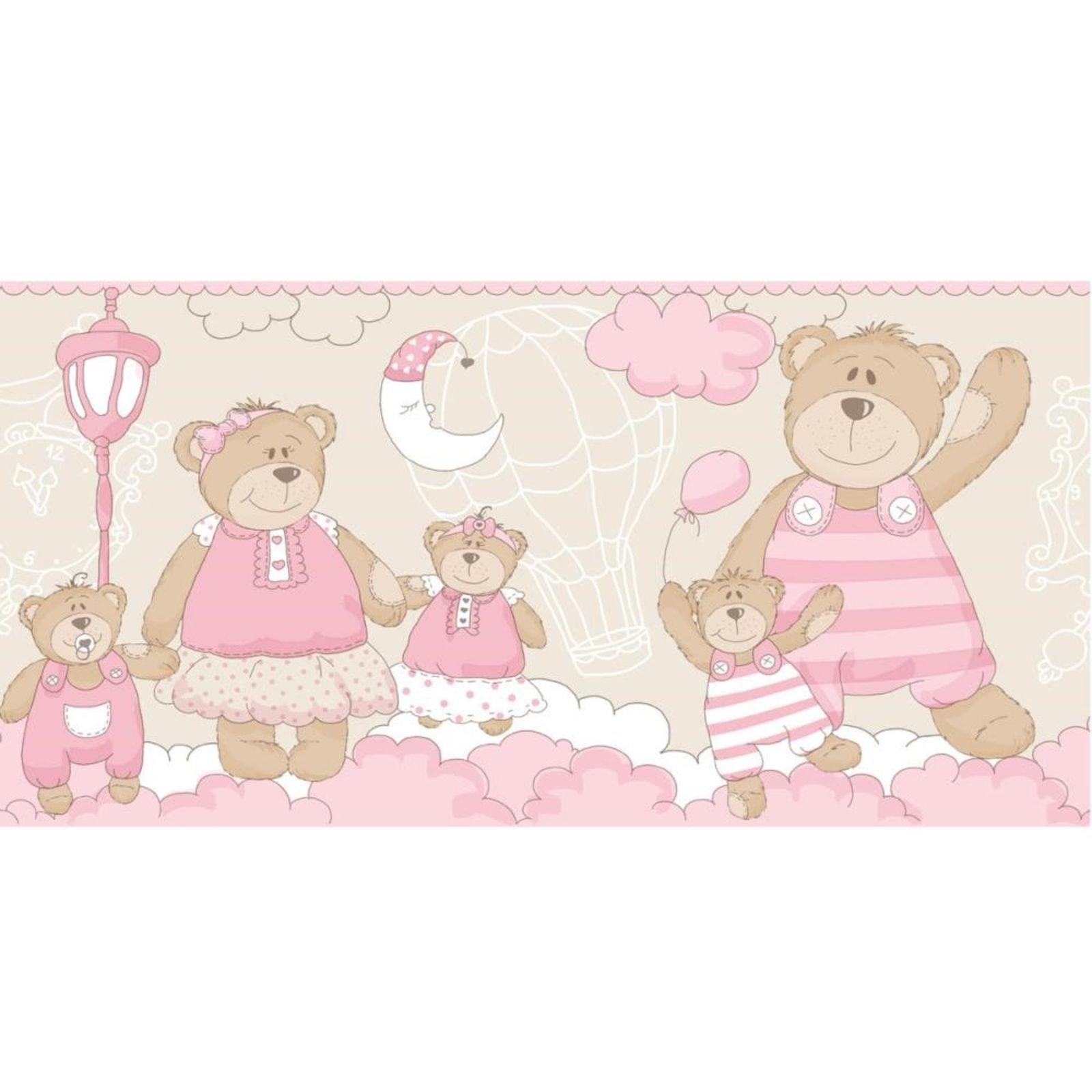 Faixa Papel de parede  Infantil Coleção Olá Baby 2 Ursos Bege, Rosa, Marfim, Marrom