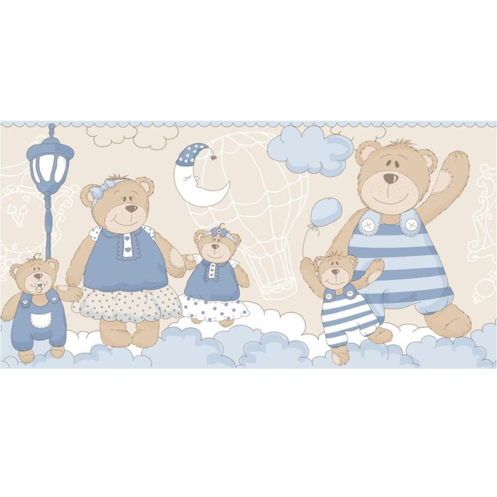 Faixa Papel de parede  Infantil Coleção Olá Baby 2 Ursos Creme, Marrom, Azul