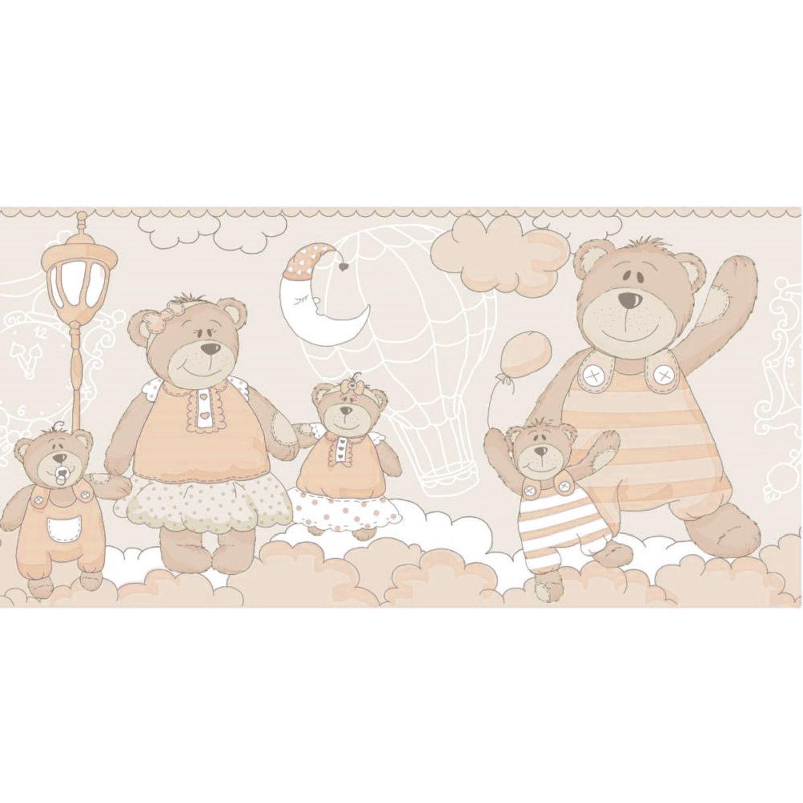 Faixa Papel de parede  Infantil Coleção Olá Baby 2 Ursos Tons de Bege, Marfim