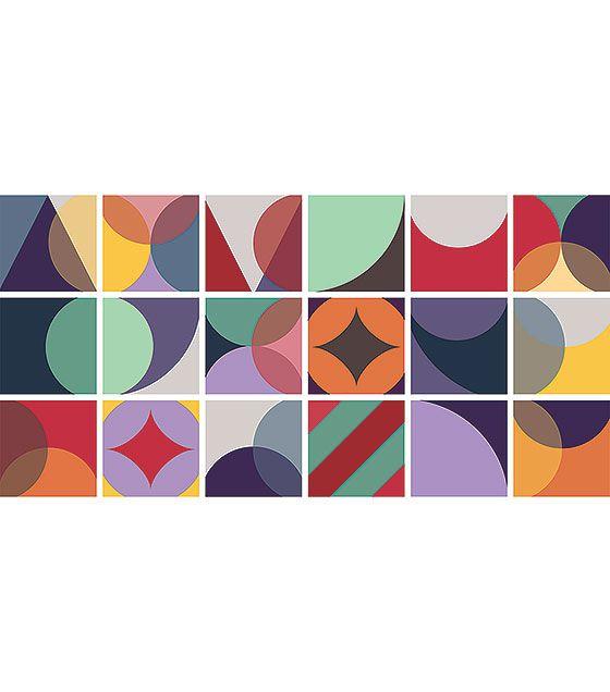 Kit de Ladrilho decorativo Autocolante - Abstract (18 Peças - 15cm x 15cm)