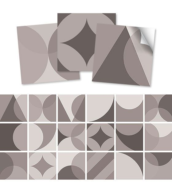 Kit de Ladrilho decorativo Autocolante  Abstract Due 18 Peças  15cm x 15cm