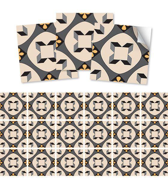 Kit de Ladrilho decorativo Autocolante - Amarilis (18 Peças - 15cm x 15cm)