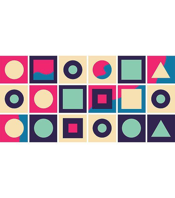 Kit de Ladrilho decorativo Autocolante - Geometric  (18 Peças - 15cm x 15cm)