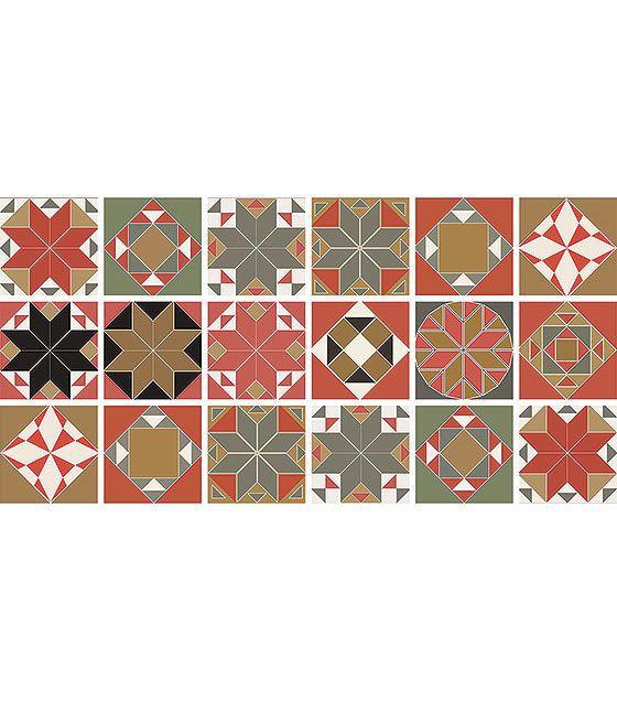 Kit de Ladrilho decorativo Autocolante - Giuliana (18 Peças - 15cm x 15cm)