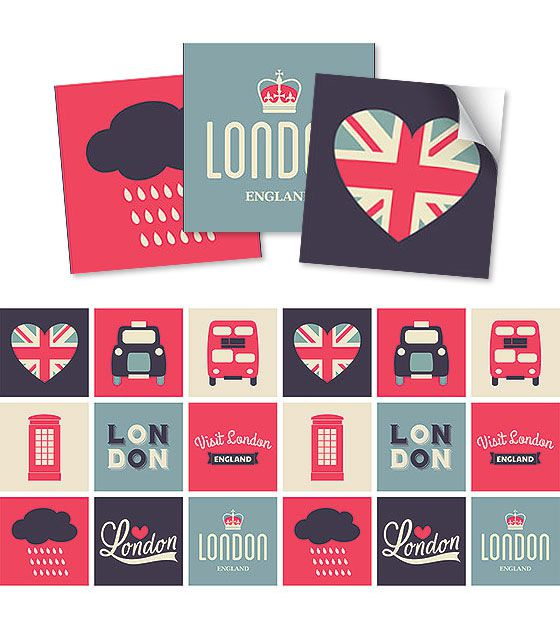 Kit de Ladrilho decorativo Autocolante - London (18 Peças - 15cm x 15cm)