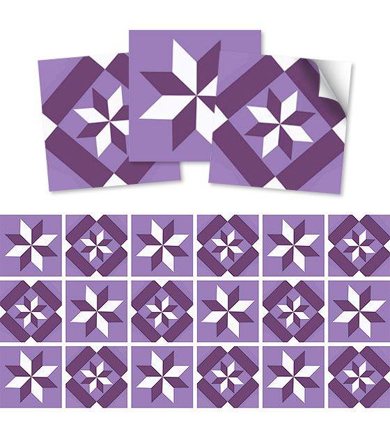 Kit de Ladrilho decorativo Autocolante - Star (18 Peças - 15cm x 15cm)