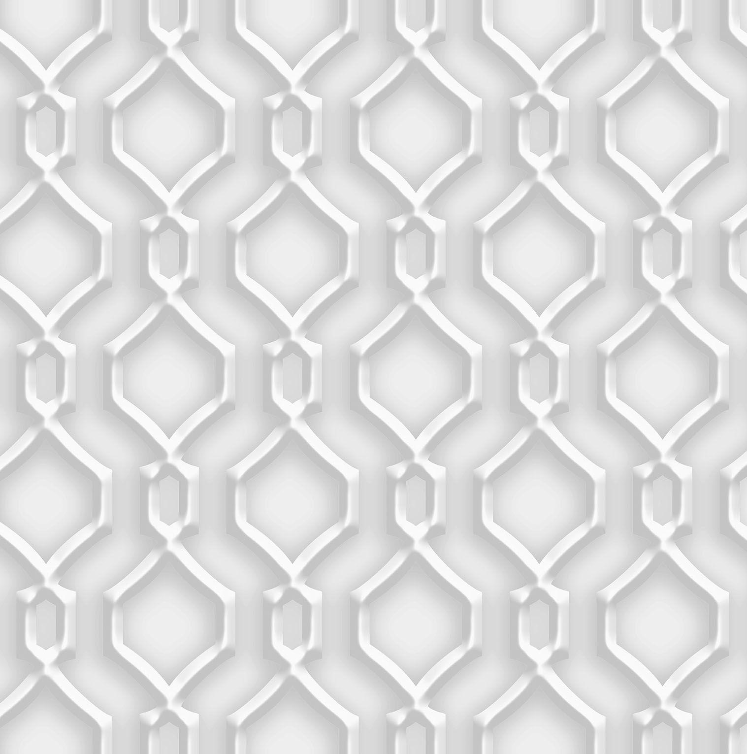 Papel de parede Bobinex  Vinílico Coleção Dimensões Geométrico Alhambra Cinza, Marfim