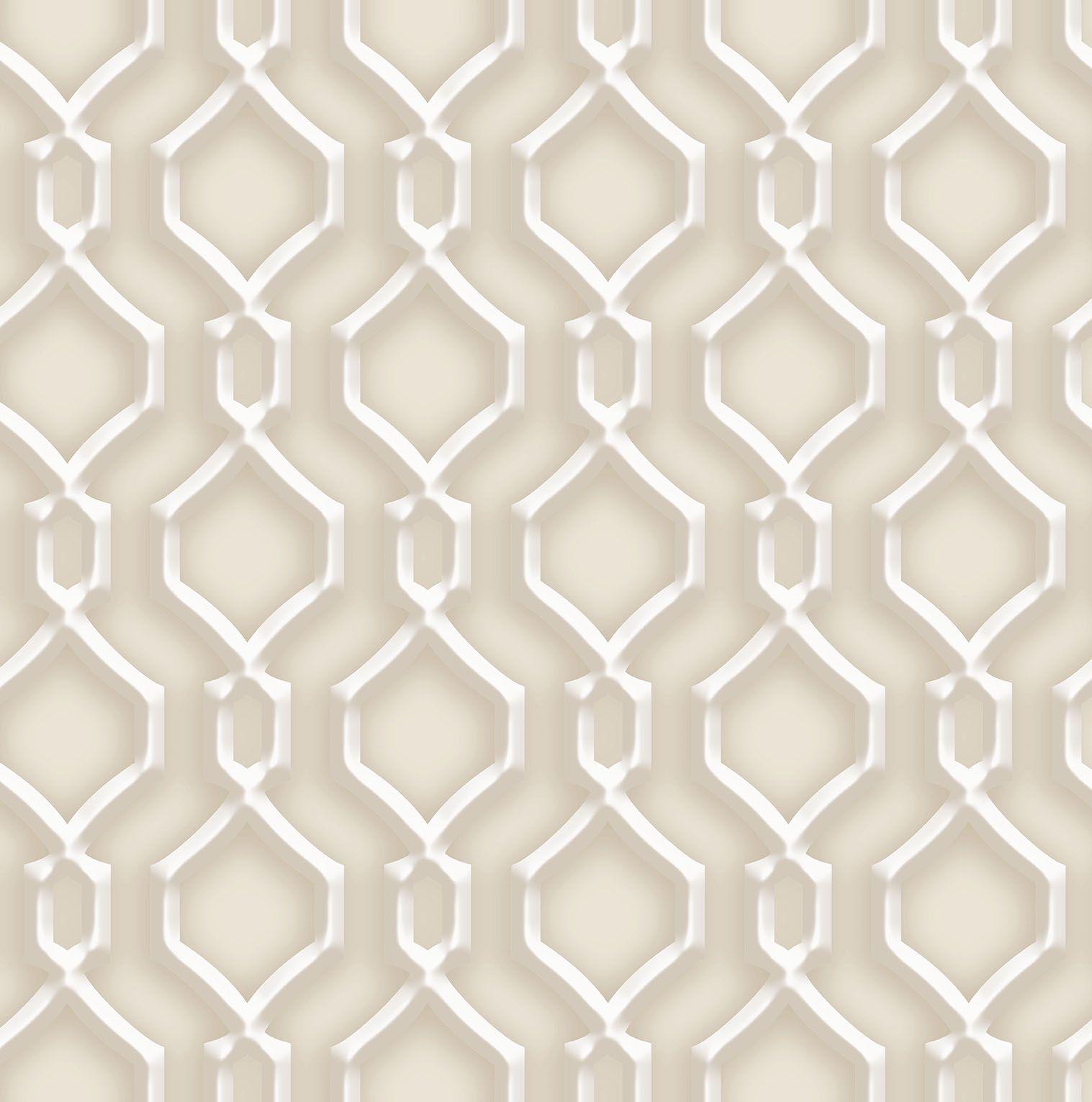 Papel de parede Bobinex Vinílico  Coleção Dimensões Geométrico Alhambra Marrom, Marfim