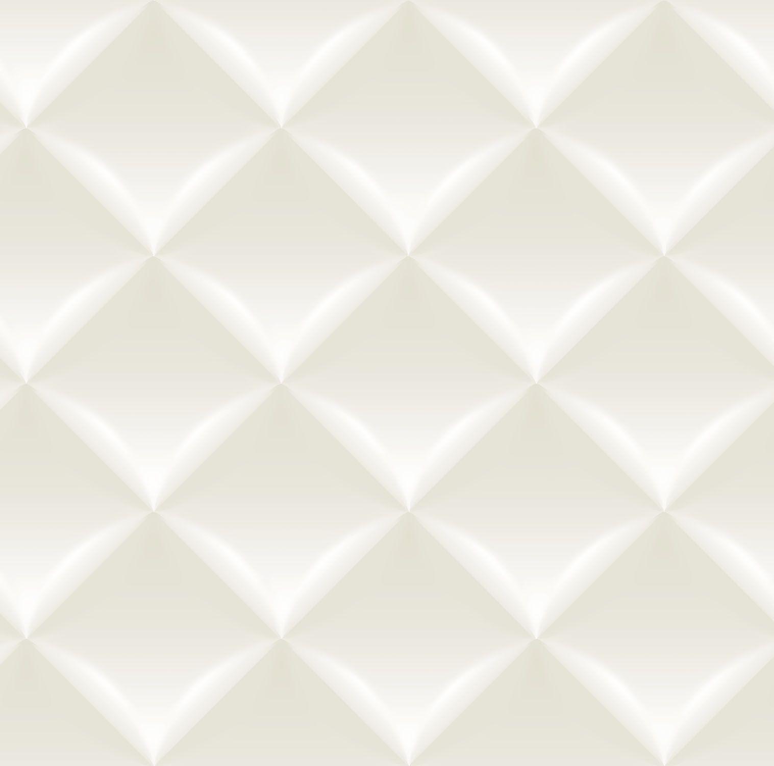 Papel de parede Bobinex Vinílico Coleção Dimensões Geométrico 3D Almofada Bege, Marfim