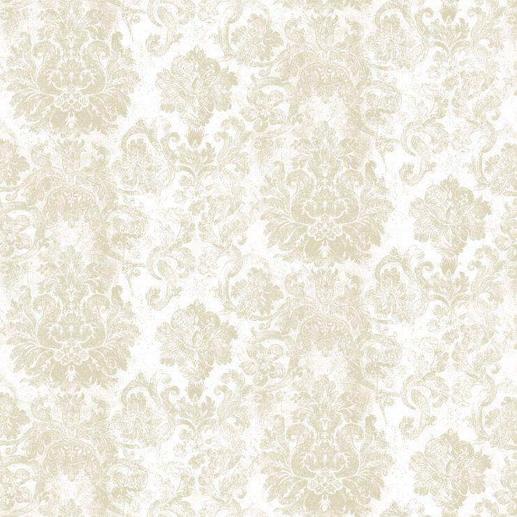 Papel de parede Coleção Diplomata arabesco bege médio, branco