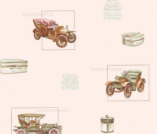 Papel de Parede Infantil Kan Tai NT Coleção Baby Charmed Carros antigos Rosê, Rosa, Marrom