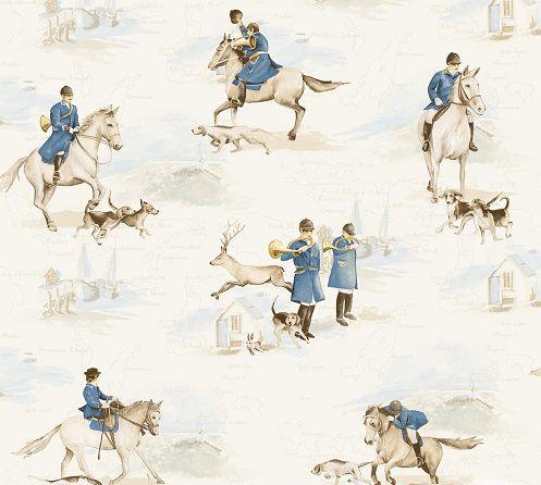 Papel de Parede Infantil Kan Tai TNT Coleção Baby Charmed Cavalos, Soldados Creme, Azul, Marrom